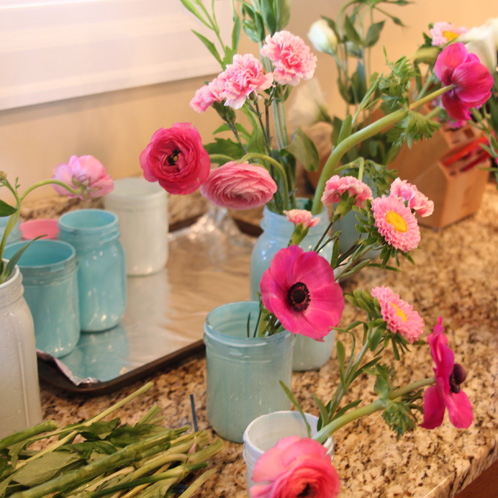 Putting flowers in vases
