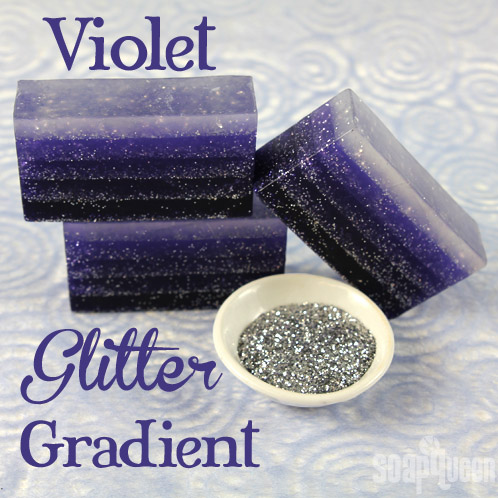 This Violet Glitter Gradient Soap Tutorial features lots of layers and glitter!