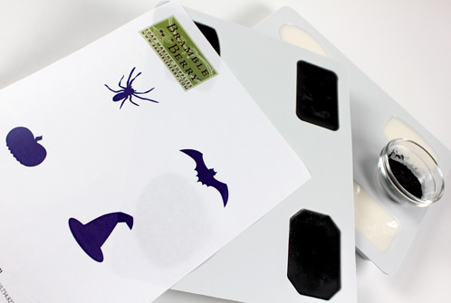 Halloween Soap project - getting ready with soap, mica and free clipart