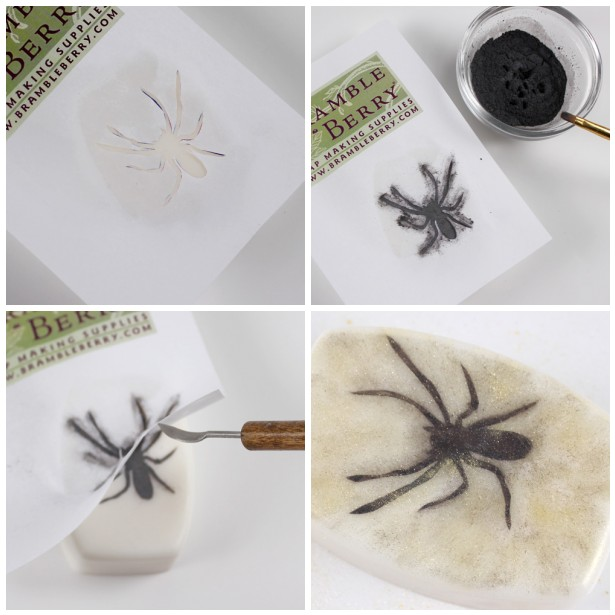 Making Spider Silhouette soap for Halloween in four steps.