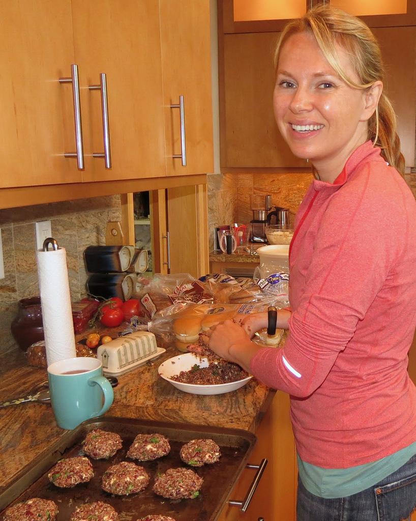 Anne-Marie forming Quinoa Feta Burger pattys