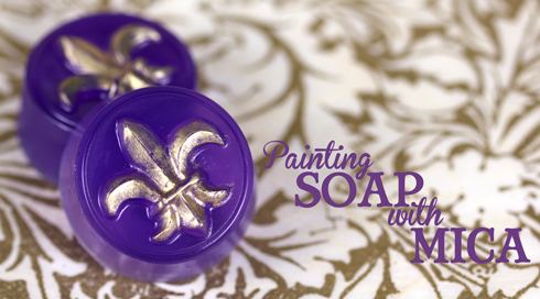 Painting mica powder on soap is a quick and easy way to add details to yor finished soap.
