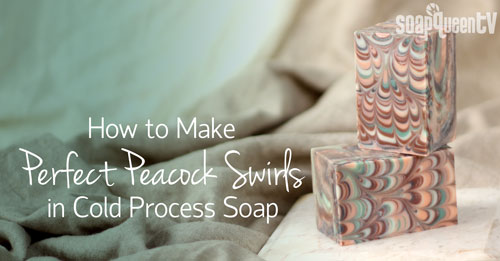 Peacock Swirl in coldp process soap on Soap Queen TV