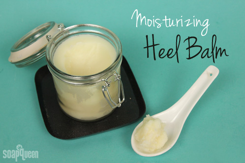 Dry, cracked heels? This Moisturizing Heel Balm made with cocoa butter and shea butter will leave your feet feeling soft. Post includes a free label!
