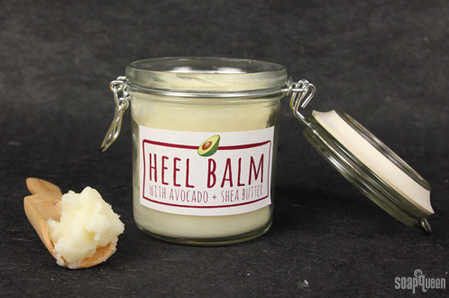 Dry, cracked heels? This Moisturizing Heel Balm made with cocoa butter and shea butter will leave your feet feeling soft.