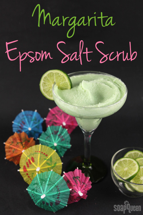 This Margarita Salt Scrub is made with Epsom salts, coconut oil and cocoa butter. It leaves skin feeling smooth, and smells just like a tropical drink!