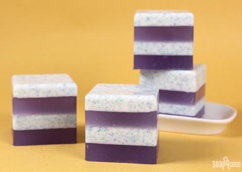 Learn how to make these layered soaps, with all natural jojoba beads!