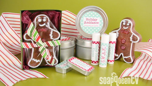 Handmade soap, lip balm and candles make a festive ensemble!